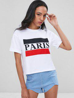 Rolled Up Sleeve Paris Tee - White M