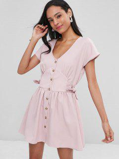 Button Up Mini Knotted Dress - Light Pink M