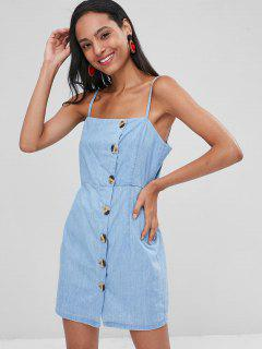 Spaghetti Strap Button Up Dress - Denim Blue L