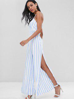 Cross Back Striped Slit Wide Leg Jumpsuit - Light Blue S