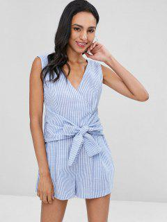 Tie Front Striped Sleeveless Romper - Light Blue L