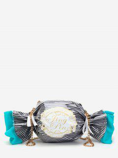 Contrasting Color Striped Candy Shaped Crossbody Bag - Black
