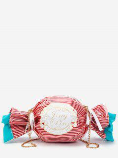 Contrasting Color Striped Candy Shaped Crossbody Bag - Chestnut Red