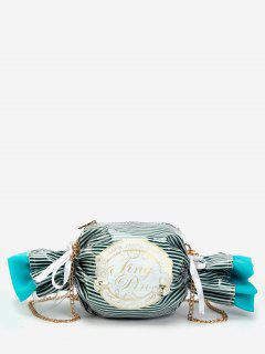 Contrasting Color Striped Candy Shaped Crossbody Bag - Sea Green