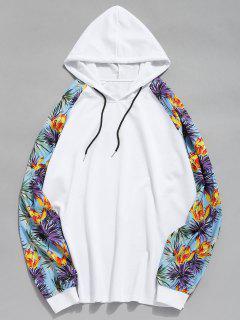 Floral Print Raglan Sleeves Patchwork Hoodie - White L