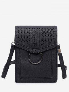 Leisure Multi Function Hollow Out Flapped Crossbody Bag - Black Vertical