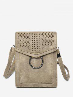 Leisure Multi Function Hollow Out Flapped Crossbody Bag - Light Khaki Vertical