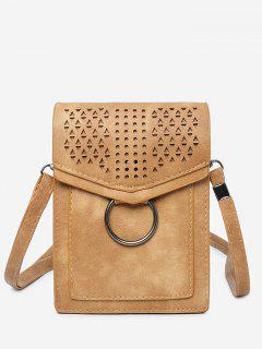 Leisure Multi Function Hollow Out Flapped Crossbody Bag - Brown Vertical