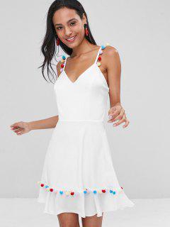 Pom Pom Cami Mini Skater Dress - White M