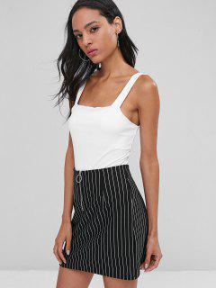 Square Ribbed Bodysuit - White L
