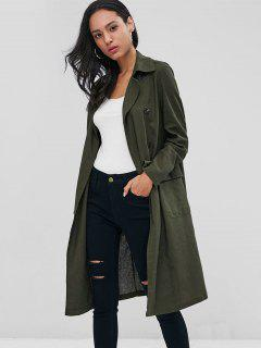 Front Pockets Linen Midi Trench Coat - Army Green L
