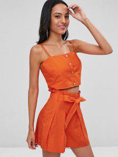 Buttoned Crop Top And Shorts Co Ord Set - Orange M