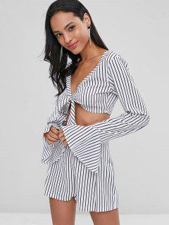 Tie Front Striped Shorts Set - White M