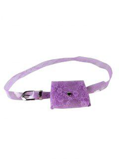 Fanny Pack Floral Decorative Transparent PVC Belt - Violet