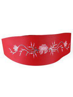 Floral Sequins Decorative Wide Waist Belt - Red