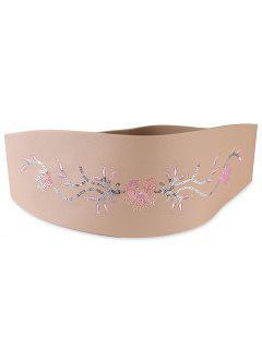 Floral Sequins Decorative Wide Waist Belt - Apricot