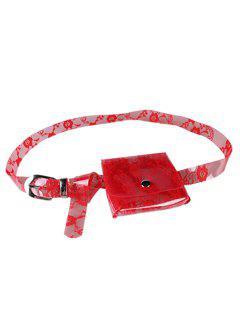 Fanny Pack Floral Decorative Transparent PVC Belt - Red