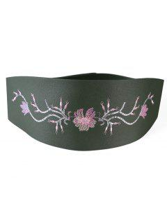 Floral Sequins Decorative Wide Waist Belt - Medium Sea Green