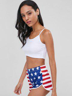 Cami Tank Top And American Flag Shorts Set - Multi L