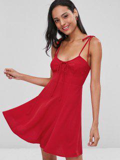 Smocked Tied Straps Mini Dress - Red M