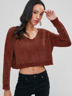 Chunky Knit Crop Sweater - Chestnut