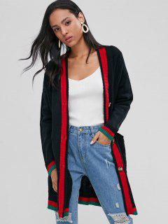 Button Up Cable Knit Cardigan - Black