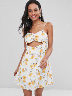 Floral Cut Out Cami Dress - White M