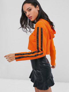 Stripes Patched Crop Hoodie - Pumpkin Orange S