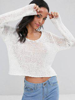 Scoop Neck Loose Knit Sweater - White