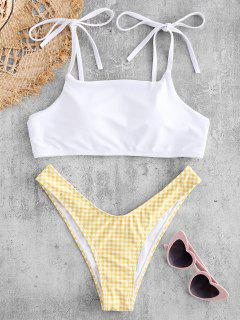 Conjunto De Bikini Cheeky Con Hombros Descubiertos A Cuadros - Amarillo Brillante M