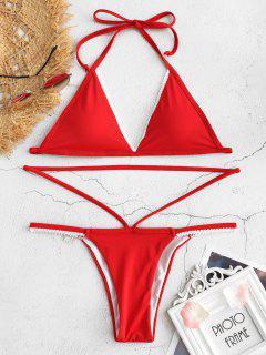 Bikini Con Cadena De Encaje Halter - Rojo De Camión De Bomberos L