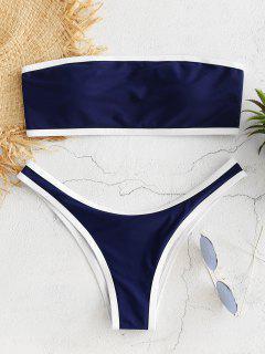 Contrast Trim Bandeau Bikini Set - Cadetblue S