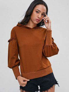 Ruffles Ribbed Hem Hoodie - Light Brown M