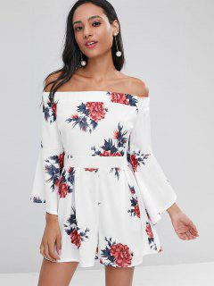 Dramatic Sleeve Floral Off The Shoulder Romper - White L