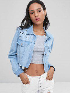 Embroidered Button Up Denim Jacket - Jeans Blue M