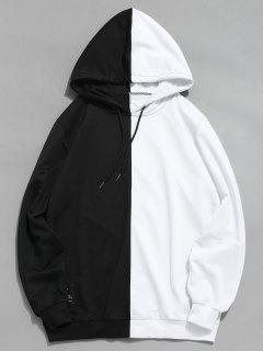 Sweat à Capuche Décontracté Patchwork Contrasté - Blanc M