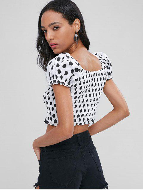 unique Polka Dot Off The Shoulder Blouse - WHITE L Mobile