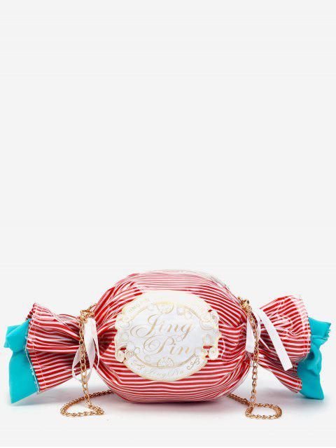 online Contrasting Color Striped Candy Shaped Crossbody Bag - CHESTNUT RED  Mobile