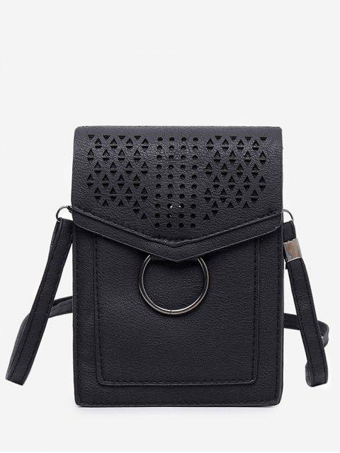 Ocio Multi Función Hollow Out Bolso bandolera aleteado - Negro Vertical Mobile
