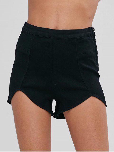 ladies Cut Out Hem Denim Shorts - BLACK L Mobile