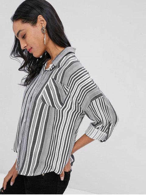 affordable Button Front Striped Shirt - BLACK XL Mobile