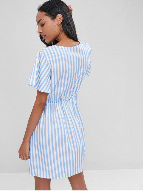 Robe Rayée Surplissée et Décontractée - Bleu Pastel S Mobile