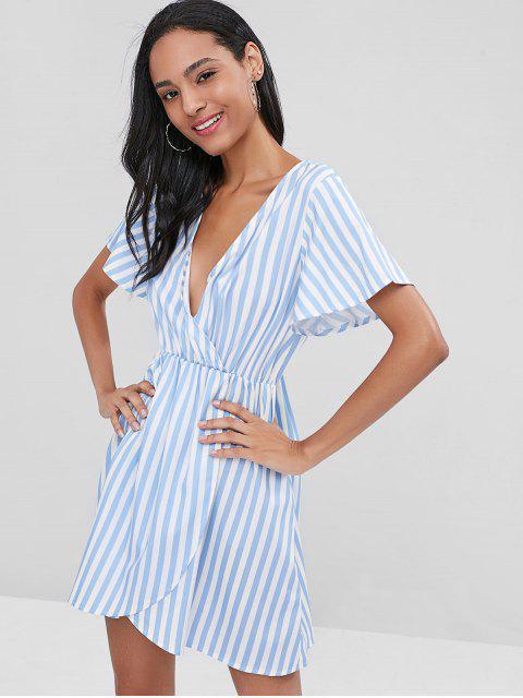 Schräges Streifen Freizeit Kleid - Pastellblau L Mobile