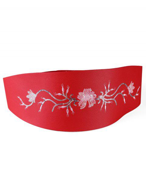fashion Floral Sequins Decorative Wide Waist Belt - RED  Mobile