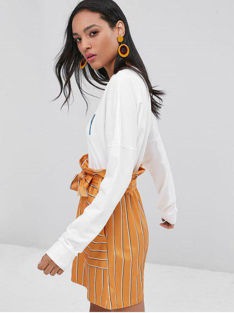 women's Letter Graphic Embroidered Crop Sweatshirt - WHITE L Mobile