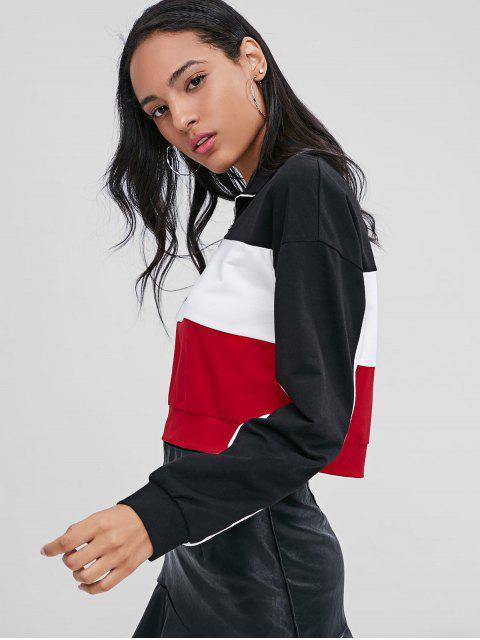 womens Half Zip Contrast Sweatshirt - BLACK L Mobile