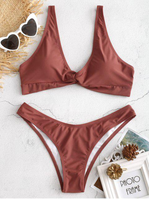 women Front Twist Padded Bikini Set - ROSY FINCH M Mobile