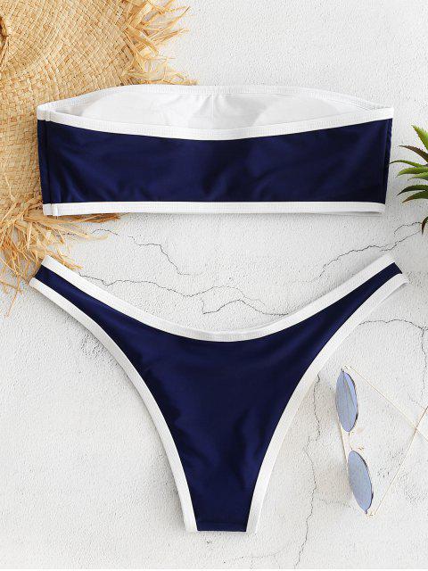 women Contrast Trim Bandeau Bikini Set - CADETBLUE S Mobile