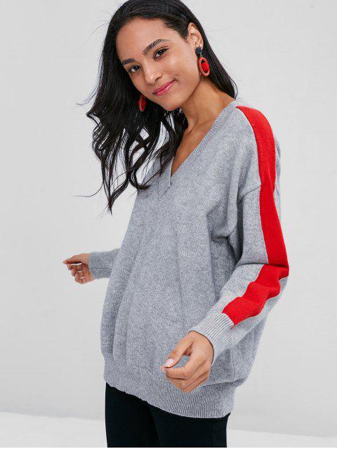 Zweifarbiger Pullover Mit V-Ausschnitt - Graue Wolke Eine Größe Mobile