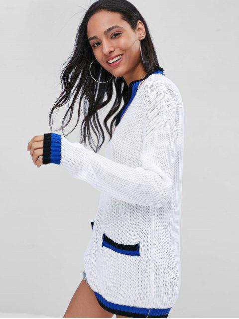 hot Loose Contrasting V Neck Sweater - WHITE M Mobile